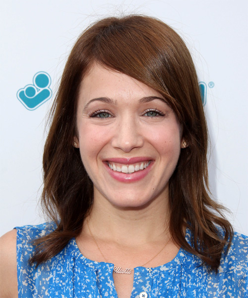 Marla Sokoloff Medium Straight Casual    Hairstyle   -  Auburn Brunette Hair Color