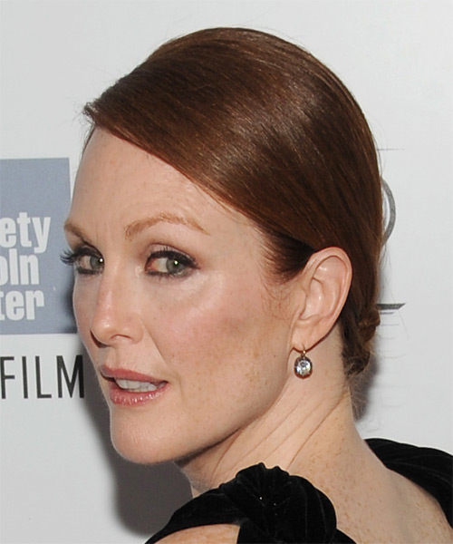 Julianne Moore Long Straight Formal   Updo Hairstyle   - Medium Copper Red Hair Color - Side on View