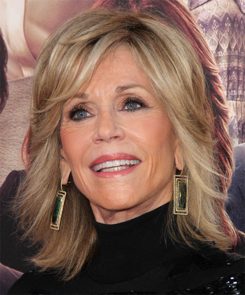 Jane Fonda Medium Straight Formal   Hairstyle   - Medium Blonde (Champagne) - Side on View