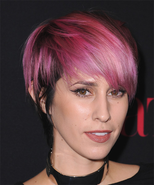Dev Short Straight Casual    Hairstyle with Razor Cut Bangs  - Pink  and Black Two-Tone Hair Color - Side on View