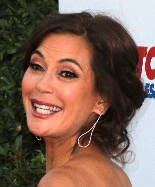 Teri Hatcher Medium Wavy Formal   Updo Hairstyle with Side Swept Bangs  - Light Chocolate Brunette Hair Color - Side on View
