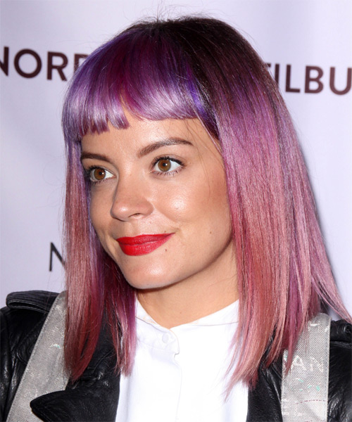 Lily Allen Medium Straight   Purple  Emo  Hairstyle with Blunt Cut Bangs  - Side on View