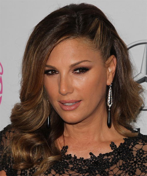 Daisy Fuentes Long Wavy Formal   Hairstyle   - Dark Brunette (Mocha) - Side on View