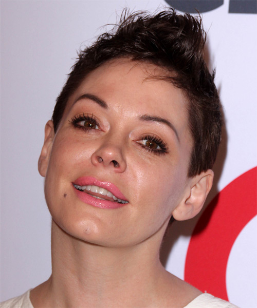 Rose McGowan Short Straight Casual   Hairstyle   - Dark Brunette (Mocha) - Side on View