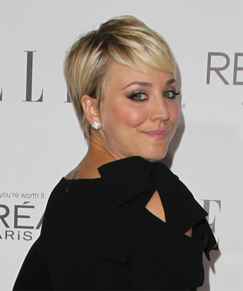 Kaley Cuoco Short Straight Formal   Hairstyle   - Medium Blonde (Golden) - Side on View