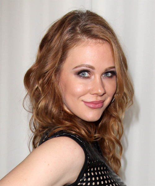Maitland Ward Long Wavy Casual   Hairstyle   - Medium Brunette (Auburn) - Side on View