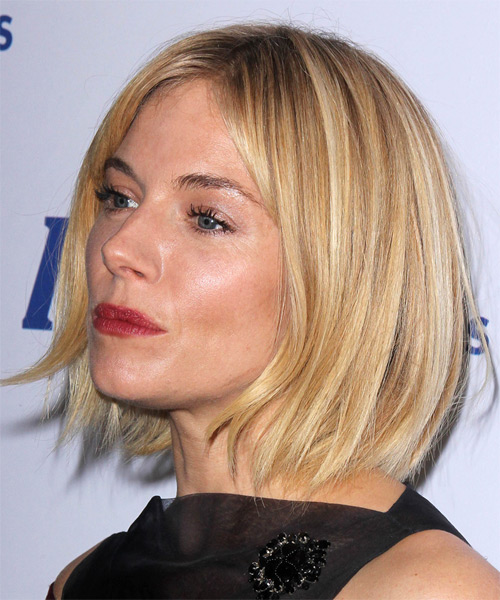 Sienna Miller Medium Straight Casual   Hairstyle   - Light Blonde - Side on View