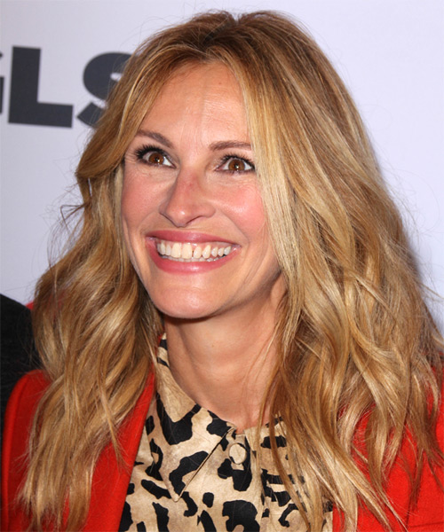 Julia Roberts Long Wavy Casual   Hairstyle   - Dark Blonde (Copper) - Side on View