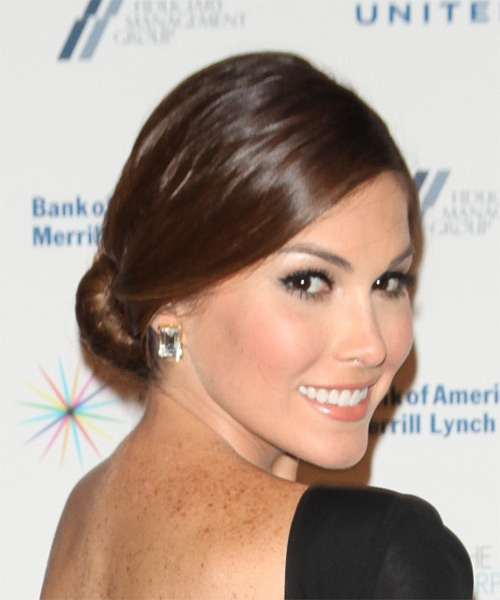 Gabriela Isler Long Straight Formal  Updo Hairstyle   - Medium Brunette - Side on View