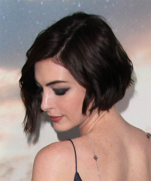 Anne Hathaway Short Straight Casual    Hairstyle with Side Swept Bangs  - Dark Chocolate Brunette Hair Color - Side on View