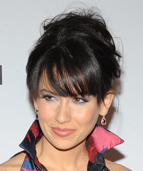 Hilaria Baldwin Long Straight   Black   Updo  with Side Swept Bangs  - Side on View