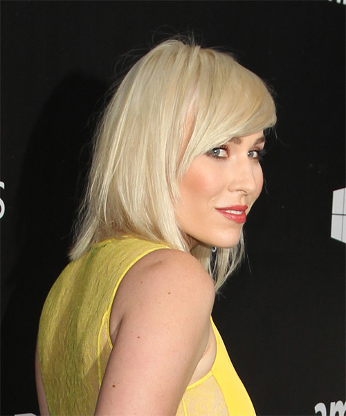 Natasha Bedingfield Medium Straight Casual   Hairstyle with Side Swept Bangs  - Light Blonde (Platinum) - Side on View