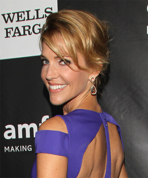 Tricia Helfer Long Straight Formal Wedding Updo Hairstyle   - Dark Blonde - Side on View