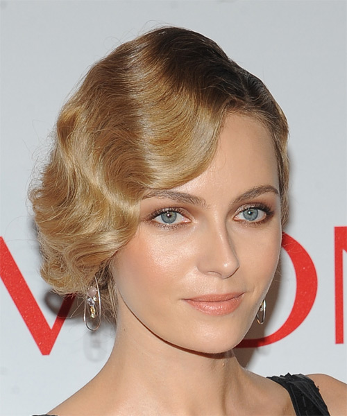 Valentina Zelyaeva Long Wavy Formal Wedding Updo Hairstyle   - Dark Blonde - Side on View