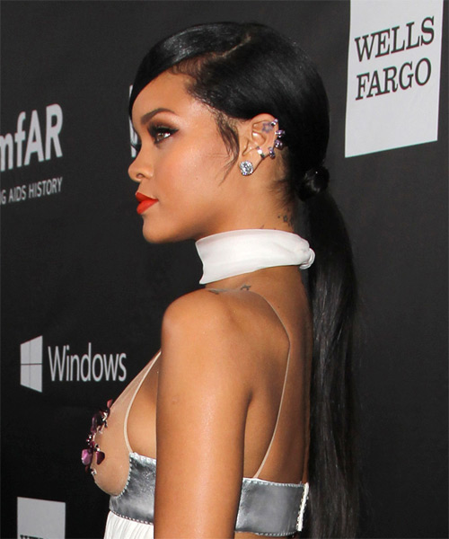 Rihanna Long Straight Formal  Updo Hairstyle   - Black - Side on View