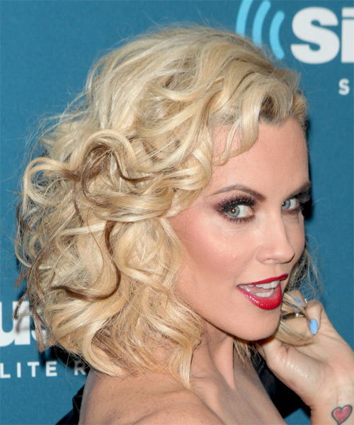 Jenny McCarthy Medium Curly Formal    Hairstyle   - Light Blonde Hair Color - Side on View