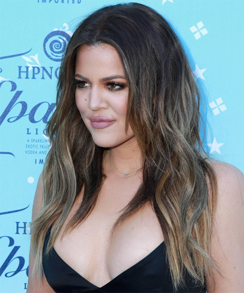 Khloe Kardashian Long Straight Casual   Hairstyle   - Dark Brunette (Chestnut) - Side on View