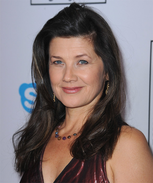 Daphne Zuniga Long Straight Casual   Hairstyle   - Black - Side on View