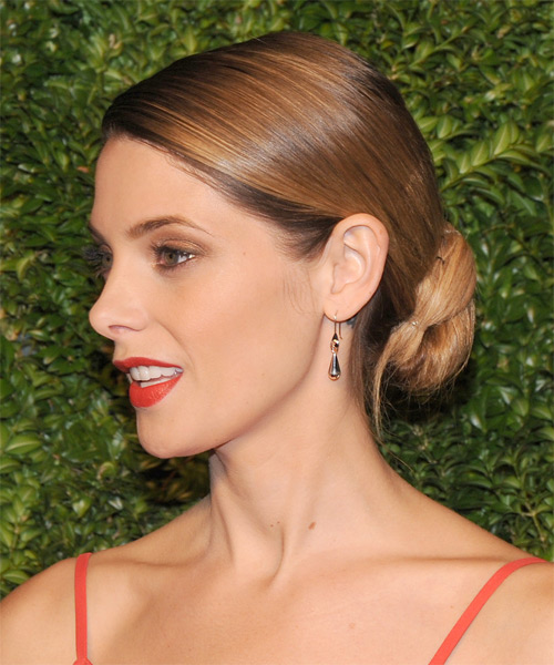 Ashley Greene Long Straight Formal Wedding Updo Hairstyle   - Medium Brunette - Side on View