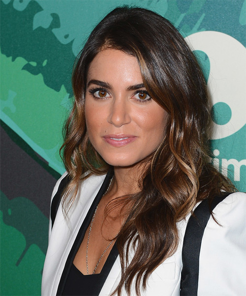 Nikki Reed Long Wavy   Dark Mocha Brunette   Hairstyle   - Side on View
