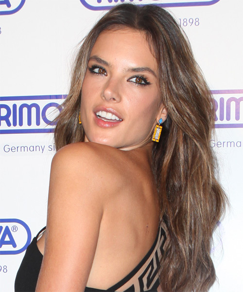 Alessandra Ambrosio Long Straight Casual   Hairstyle   - Medium Brunette (Chocolate) - Side on View