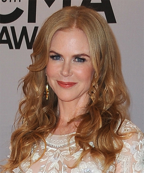 Nicole Kidman Long Wavy Formal   Hairstyle   - Light Red (Copper) - Side on View