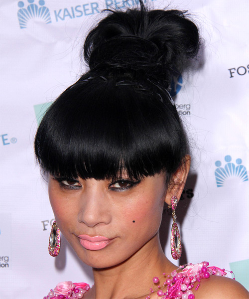 Bai Ling Long Straight Casual  Updo Hairstyle with Blunt Cut Bangs  - Black - Side on View