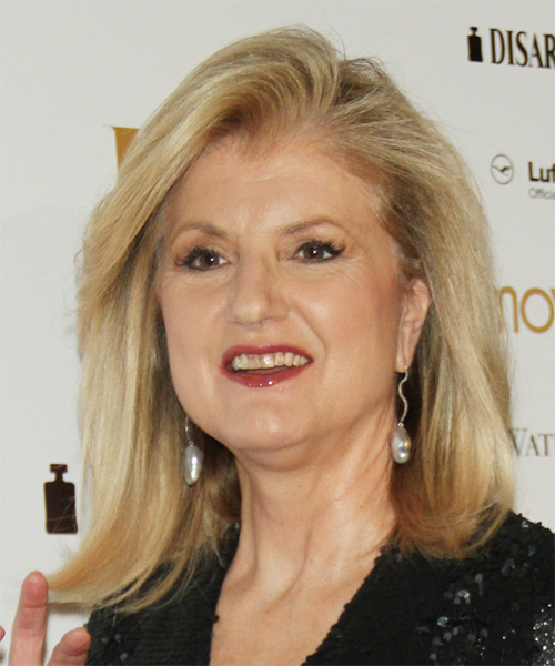 Arianna Huffington Medium Straight   Light Blonde   Hairstyle   - Side on View