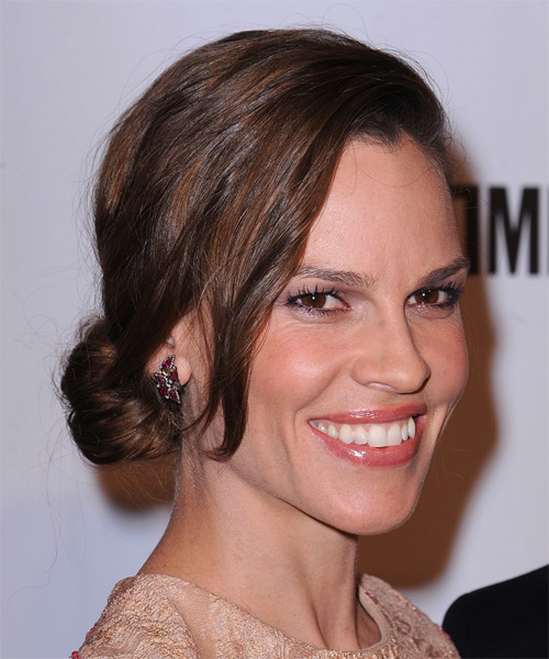 Hilary Swank Long Straight Casual   Updo Hairstyle   -  Chocolate Brunette Hair Color - Side on View