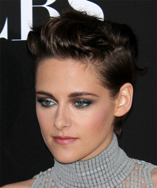 Kristen Stewart Short Straight   Dark Brunette   Hairstyle   - Side on View