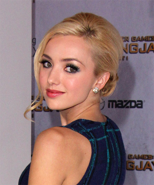 Peyton List Long Straight Formal Wedding Updo Hairstyle   - Medium Blonde - Side on View