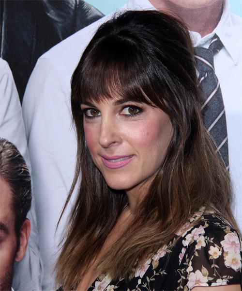 Lindsay Sloane Long Straight Casual  Half Up Hairstyle with Layered Bangs  - Dark Brunette - Side on View
