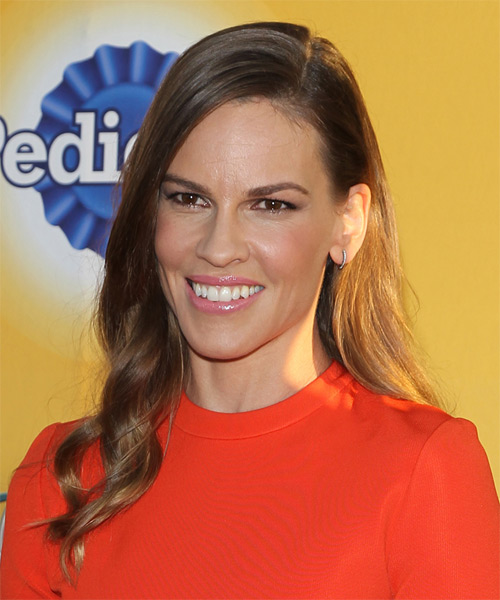 Hilary Swank Long Wavy Casual   Hairstyle   - Medium Brunette (Chocolate) - Side on View