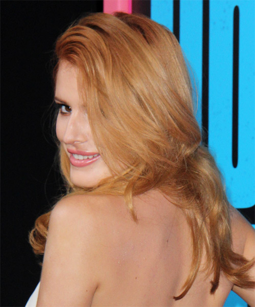 Bella Thorne Long Straight Casual   Hairstyle   - Light Red - Side on View