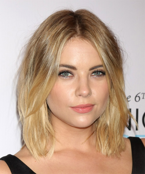 Ashley Benson Medium Straight   Dark Blonde   Hairstyle   - Side on View