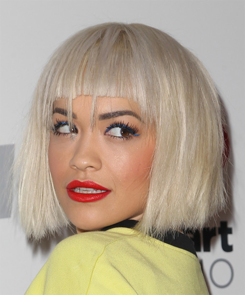Rita Ora Medium Straight   Light Blonde Bob  Haircut with Blunt Cut Bangs  - Side on View