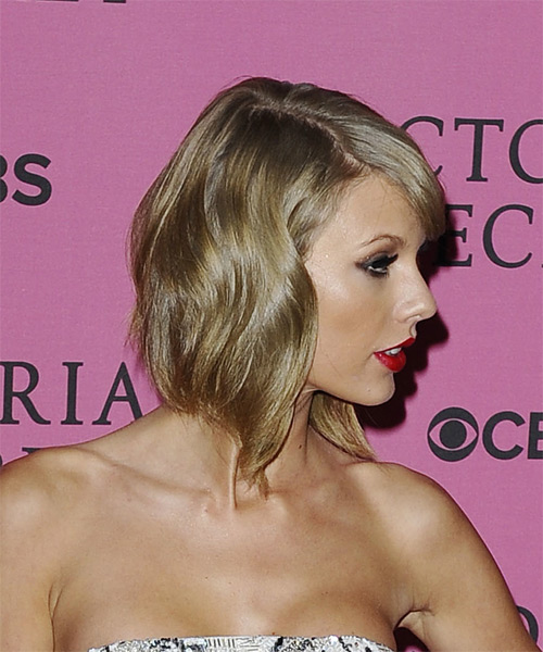 Taylor Swift Medium Wavy Formal    Hairstyle with Side Swept Bangs  - Ash Hair Color - Side on View