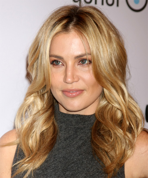 Willa Ford Long Wavy Casual   Hairstyle   - Dark Blonde (Golden) - Side on View