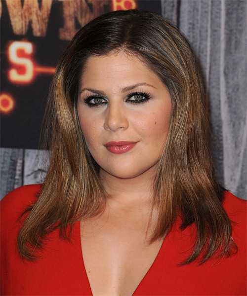 Hillary Scott Long Straight Casual   Hairstyle   - Dark Brunette - Side on View