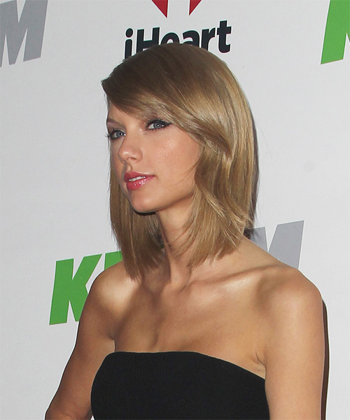 Taylor Swift Medium Straight   Dark Golden Blonde   Hairstyle with Side Swept Bangs  - Side on View