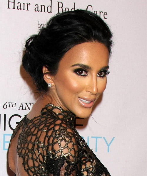Lilly Ghalichi Long Wavy Formal Wedding Updo Hairstyle   - Black - Side on View