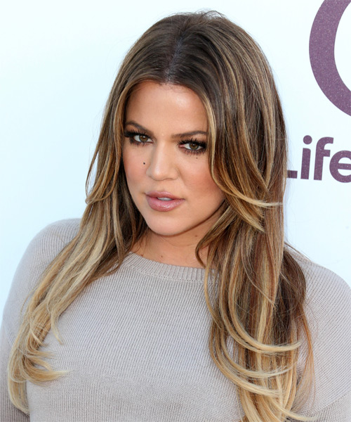 Khloe Kardashian Long Straight    Caramel Brunette   Hairstyle   with Light Blonde Highlights - Side on View