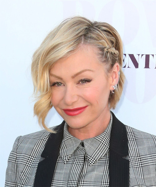 Portia De Rossi Short Wavy Formal  Half Up Hairstyle   - Light Blonde - Side on View