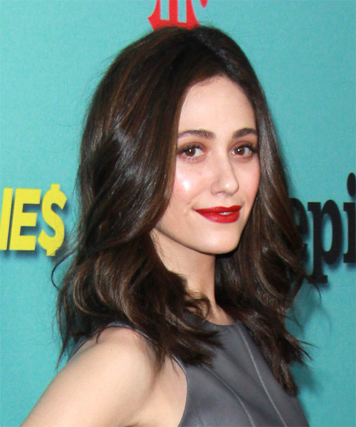 Emmy Rossum Medium Wavy Casual   Hairstyle   - Dark Brunette - Side on View