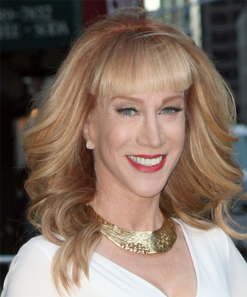 Kathy Griffin Long Wavy Formal   Hairstyle with Blunt Cut Bangs  - Medium Blonde (Copper) - Side on View