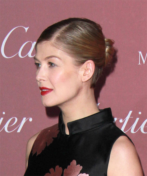 Rosamund Pike Long Straight Formal Wedding Updo Hairstyle   - Medium Brunette (Chestnut) - Side on View