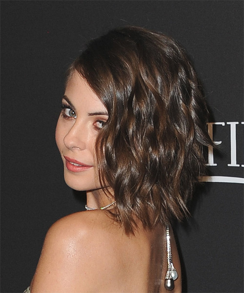 Willa Holland Medium Wavy Mocha Brunette Hairstyle