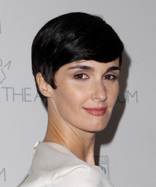 Paz Vega Short Straight Formal   Hairstyle with Side Swept Bangs  - Black - Side on View