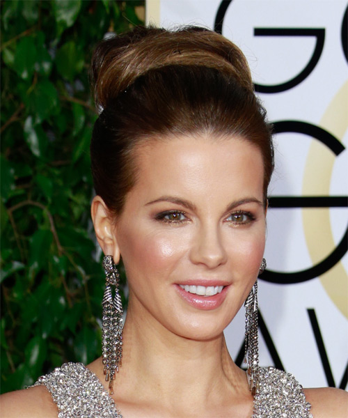 Kate Beckinsale Long Straight Formal Wedding Updo Hairstyle   - Medium Brunette - Side on View