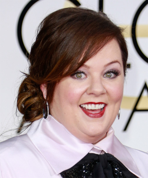 Melissa McCarthy Medium Wavy    Brunette  Updo  with Side Swept Bangs  - Side on View